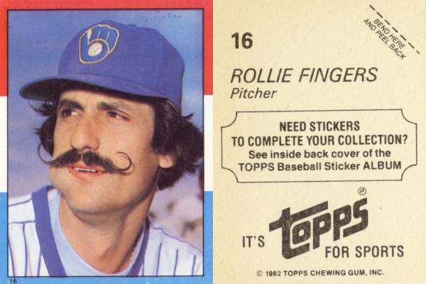1982 Topps Stickers Rollie Fingers #16